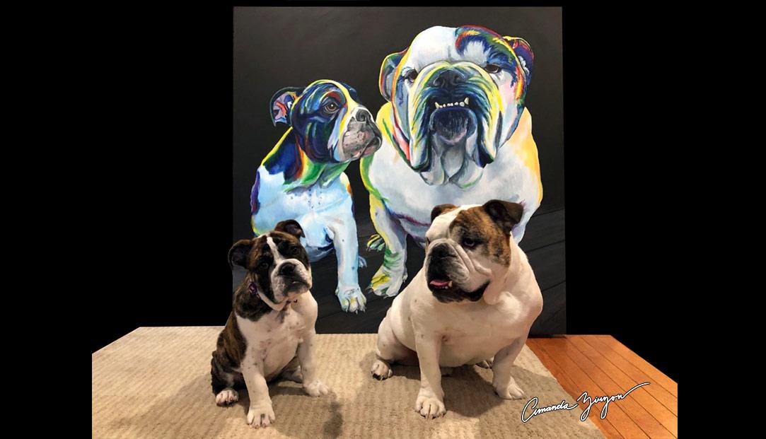 Bulldog Rainbow Pet Painting Portrait by Amanda Zirzow
