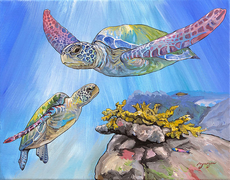 The Young Sea Turtle and her Mother