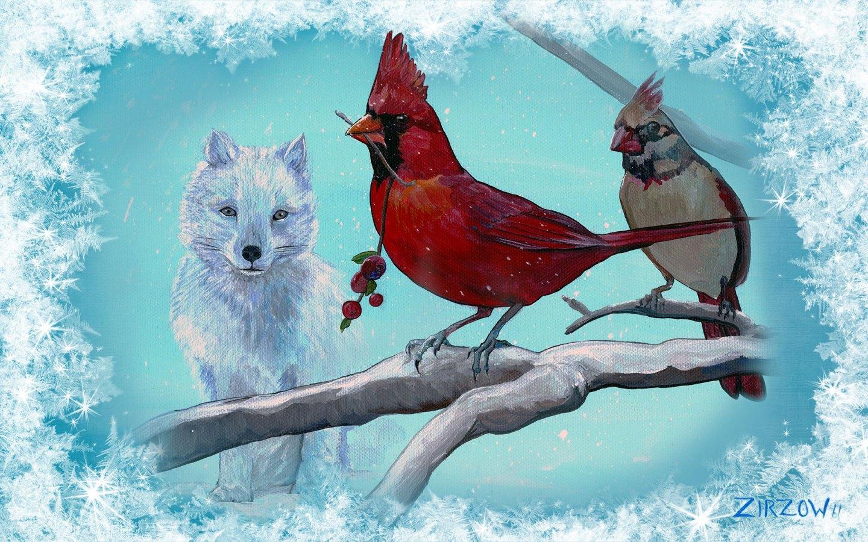 Cardinal and the Fox Desktop Wallpaper