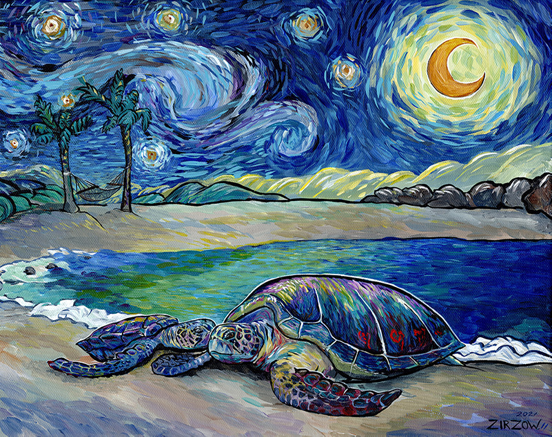 Sea Turtles in the Starry Night