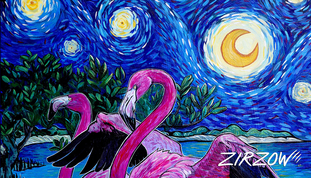 Flamingos in the Starry Night
