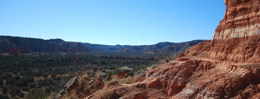 A scenic shot of Palo Duro Canyon from a hiking trail.