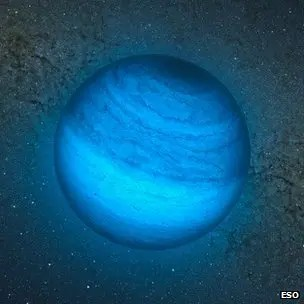 "Artist's impression of the ""rogue planet"" CFBDSIR2149 discovered in the AB Doradus group of moving stars. (European Southern Observatory/AFP)"