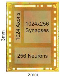 The tiny neurosynaptic core produced by IBM. (c) IBM