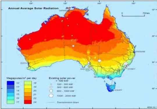 Australia solar irradiance