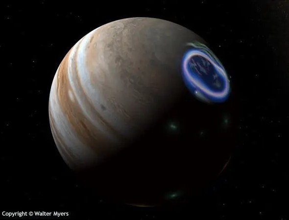 Artistic representation of an aurora on Jupiter