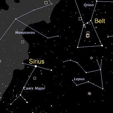 belt and sirius star chart