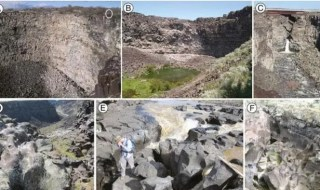 Photographs of (A) Woody's Cove (person, for scale, circled), (B) the approximately 50-meter high headwall of Stubby Canyon, (C) the downstream-most waterfall at Pointed Canyon, (D) fluted and polished notch at the rim of Stubby Canyon, (E) upstream-most waterfall at Pointed Canyon, and (F) upstream-most abandoned channel.