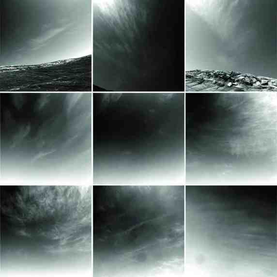 """Nine images from the Mars rover Opportunity's Navcam show the types of clouds seen over the first 9 years of the mission. The cirrus clouds are seen against a moderately dusty background sky. Most or all of the clouds are water ice, with images showing clouds occurring only during the """"aphelion cloud belt season"""" when water ice clouds are expected. The top row shows images from inside Endurance crater. All images were taken during the Martian winter. (Photos: NASA / JPL /Texas A&M) )"""