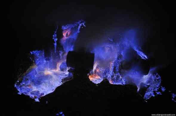 Typical blue flames of sulfuric gaz Kawah Ijen