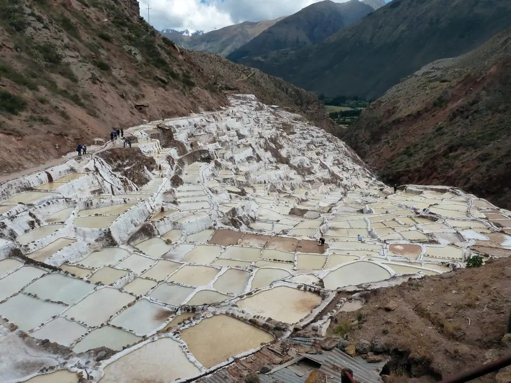 Ponds near Maras, Peru, fed from a mineral spring and used for salt production since the time of the Incas. Image via Wiki Commons.