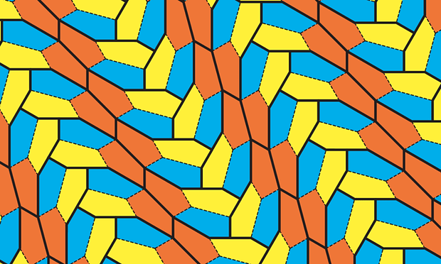 All these pentagons are identical. The coloring helps identify the three groups that arrange to form a tilled plane. Image: Casey Mann