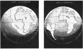 In 1858, Snider-Pellegrini made these two maps. They depict his interpretation of how the American and African continents may once have fit together before subsequently becoming separated. Image: Wikimedia Commons