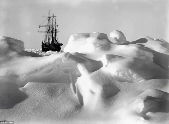 Endurance, stranded in the ice.