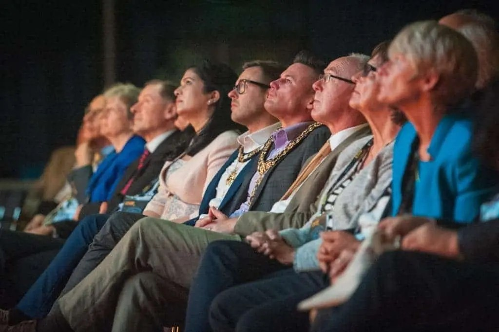 Dignitaries and guests at the opening ceremony of the EuroScience Open Forum at Manchester Central, in Manchester, United Kingdom on Sunday 24th July 2016. Credit: Matt Wilkinson Photography