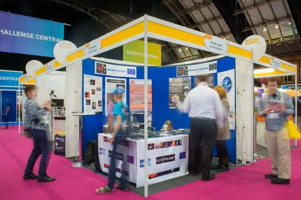 The Europe goes to the planets stand in the main exhibition hall at the EuroScience Open Forum at Manchester Central, in Manchester, United Kingdom on Wednesday 27th July 2016. Credit: Matt Wilkinson Photography