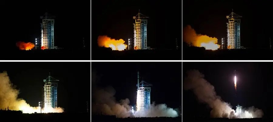 Combined photo shows China launching the world's first quantum satellite. (Xinhua/Jin Liwang)