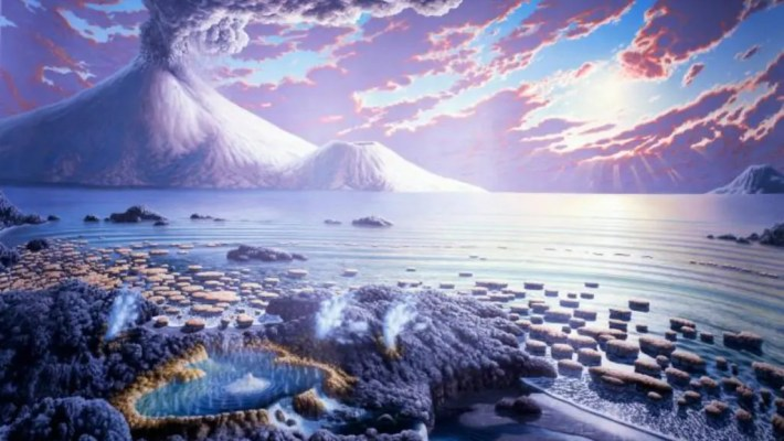 Early Earth wasn't the most hospitable place in the Universe, but some in all this chaos life emerged. Image credit: Peter Sawyer / Smithsonian Institution.