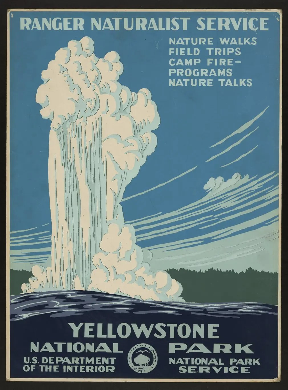 Old Faithful erupting at Yellowstone national park, circa 1938
