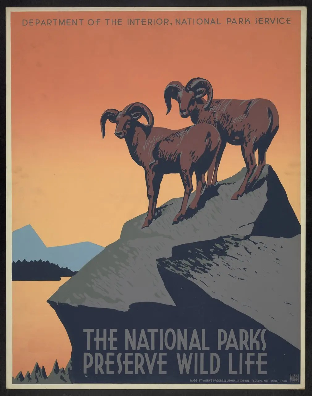 Two bighorn sheep invite travelers to national parks, 1939.