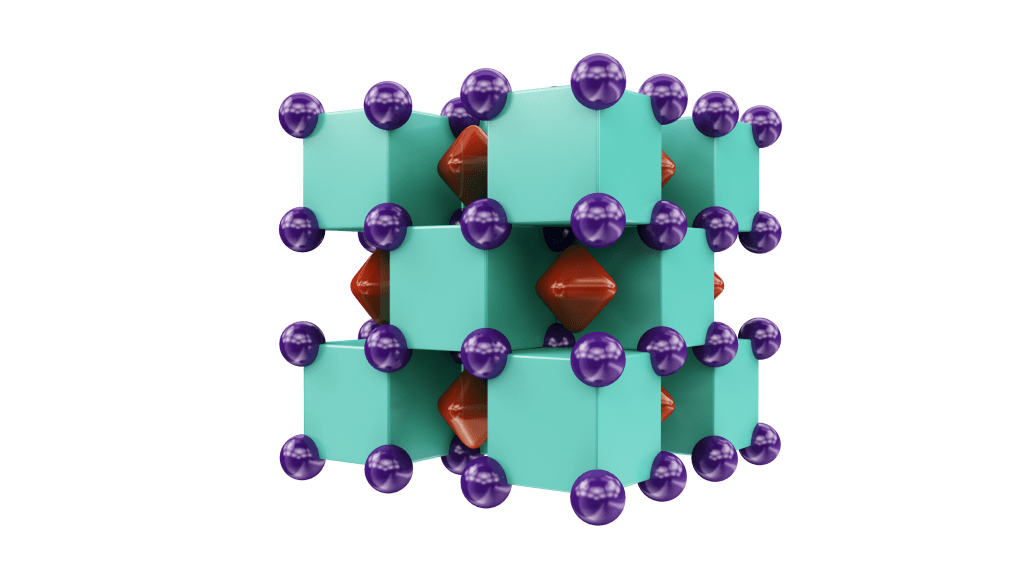 Crystal structure of Na2He, resembling a three-dimensional checkerboard. The purple spheres represent sodium atoms, which are inside the green cubes that represent helium atoms. The red regions inside voids of the structure show areas where localized electron pairs reside. Illustration is provided courtesy of Artem R. Oganov.