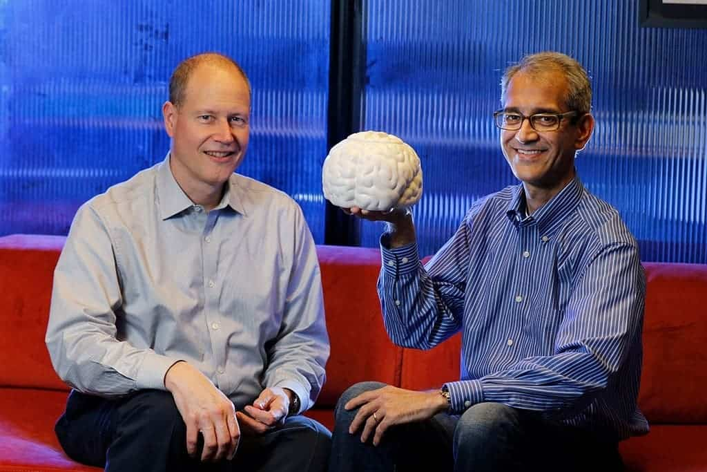 Stanford's Jaimie Henderson and Krishna Shenoy developed a brain-computer interface that allows the disabled to type with their thoughts faster than anything previously demoed. Credit: Paul Sakuma.