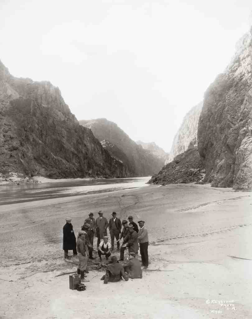 An inspection party near the proposed site of the dam in the Black Canyon on the Colorado River (1928). Credit: EYSTONE/FPG/HULTON ARCHIVE.