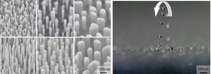 Hydrophobic surfaces covered in nanopillars that resemble stalagmites on a cave's floor can control when a dew droplet will jump. Taller and slender pillers can make droplets as small as two micrometers jump off the surface of a material. Credit: Virginia Tech.