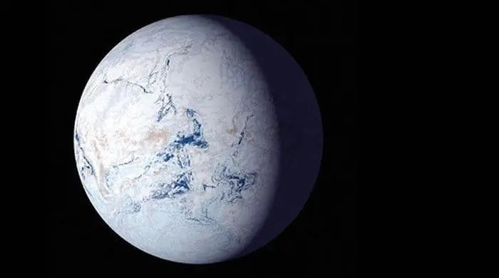 About 700 million years ago, runaways glaciers covered the entire planet in ice. Credit: NASA.