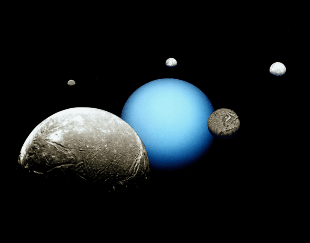 Uranus and its five major moons are depicted in this montage of images acquired by the Voyager 2 spacecraft. The moons, from largest to smallest as they appear here, are Ariel, Miranda, Titania, Oberon and Umbriel. Credit: NASA/JPL