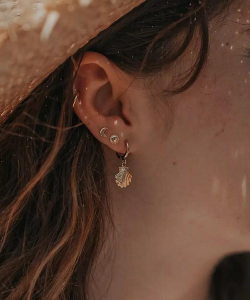 boucles d'oreilles coquillage lune
