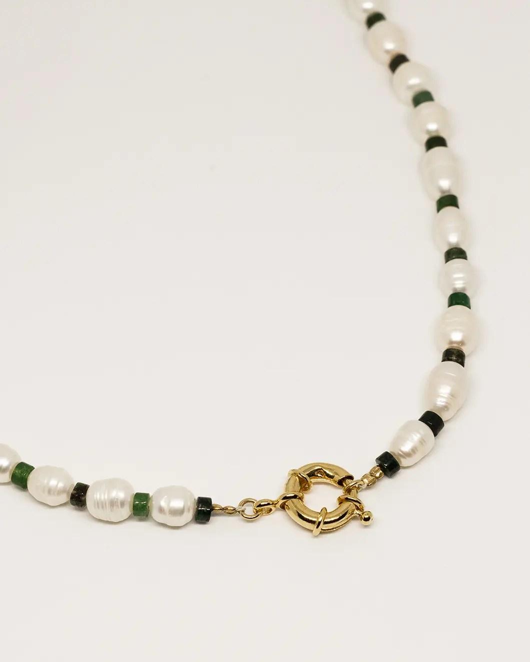 Collier perles de culture agate mousse