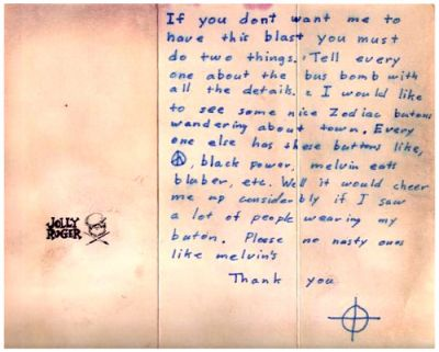 Image result for Zodiac Killer letter, April 28th 1970