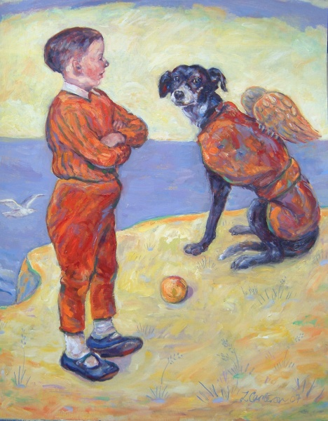 Painting of a boy encouraging his dog to leap off a cliff- continues to observe power within a relationship, who holds it, can they be trusted with it. Moral questions and subject matter frequently explored in her other work.
