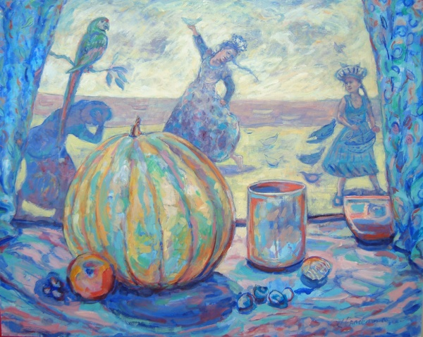Painting of a still life - Through the parted curtains, beyond the pumpkin and shells, children play