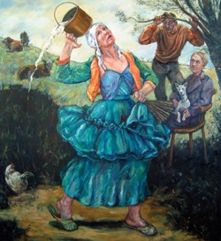painting illustrating one of Aesops Fables - Don't Count Your Chickens before they are hatched - A milk maid drops her milk as village boys watch nearby