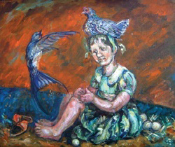 painting illustrating one of Aesops Fables - Even the kindest treatment cannot tame a savage nature- A girl sits on serpents eggs