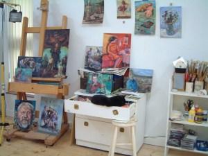 Studio with sleeping cat.