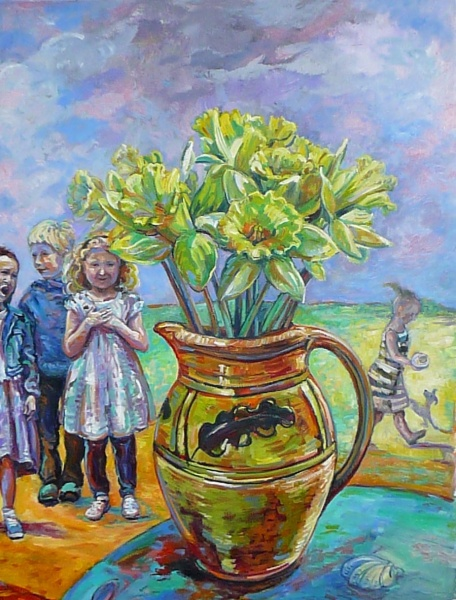 A detail from a painting showing daffodils in a jug with village children by Zoe Cameron .This painting hangs in Vyvyan Coach House Mawgan Church Cornwall