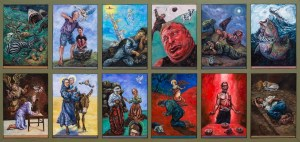 Oil paintings showing the panel of 12 small paintings about life journeys and pilgrimage from the old and new testaments this painting hangs in All Saints Church Marazion Cornwall