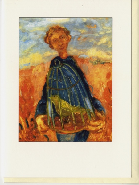 painting of a figure holding a caged bird beneath the sky standing in an orange coloured field this image has been made into a card