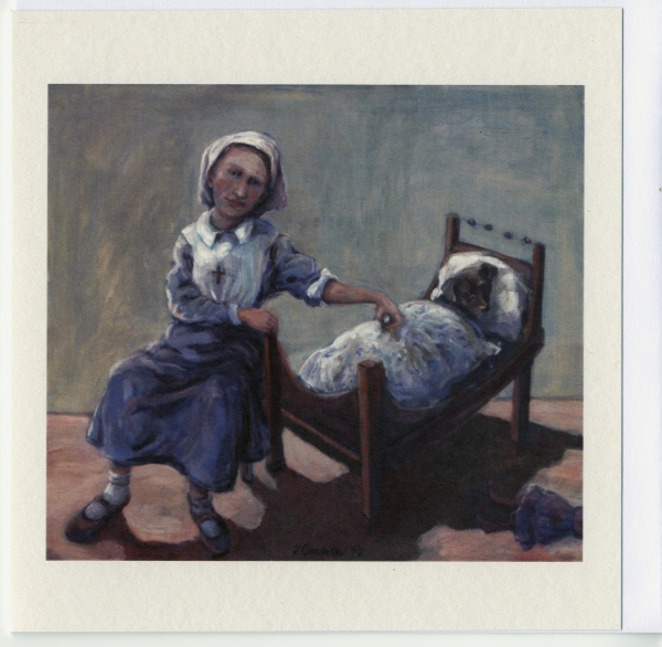 painting of a child dressed as a nurse with her pet dog in a toy bed