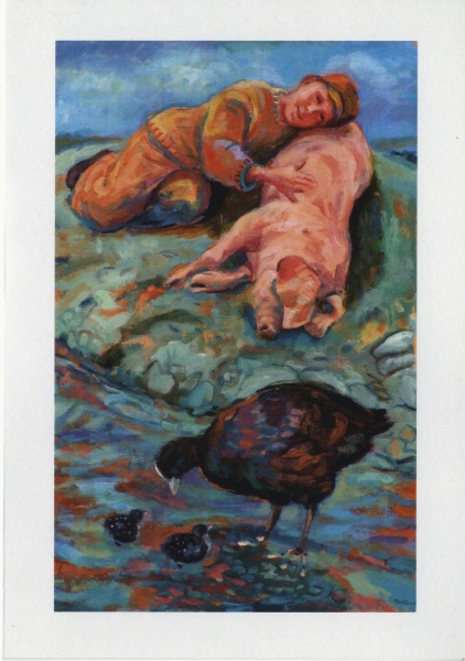 painting of a sleeping pig a boy and some moor hens which has been made into a Christmas card