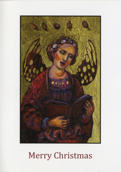 Painting of an angel singing to birds on a wire which has been made into a Christmas card