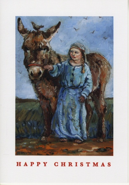 Painting of a nativity scene , showing a child dressed as Mary and a donkey which has been made into a Christmas card
