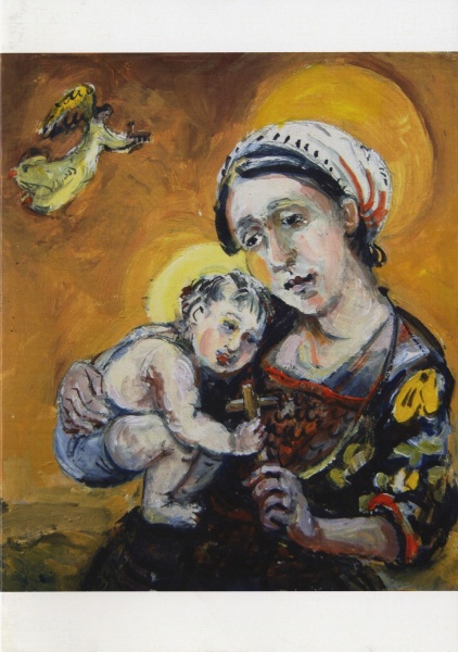 A painting of a weeping madonna and child
