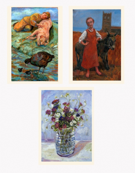 Boy with a pig, painting, vase of wild flowers, Good Friday, girl with a donkey, woman artist, gallery,Cornish artist