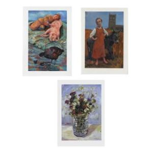 Paintings of -Cornish flowers - a girl with a donkey - a sleeping pig with a little boy and moor hens - made into cards