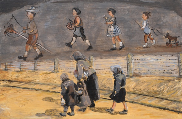 WAR: Holocaust Memorial Day, a prayer Painting of Hungarian Jewish children with an old lady walking beside the railway track to the Auschwitz Birkenau gas chambers and their death above are paintings made by the prisoners there to entertain the children