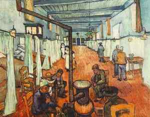 Hospital ward painted by Van Gogh. Patients sit around a stove.